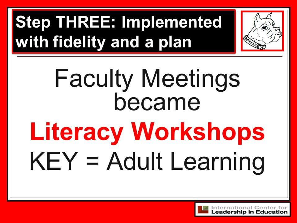 Faculty Meetings became Literacy Workshops KEY = Adult Learning