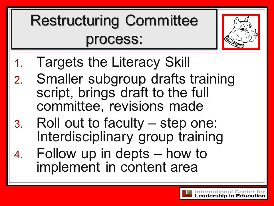 Restructuring Committee process: