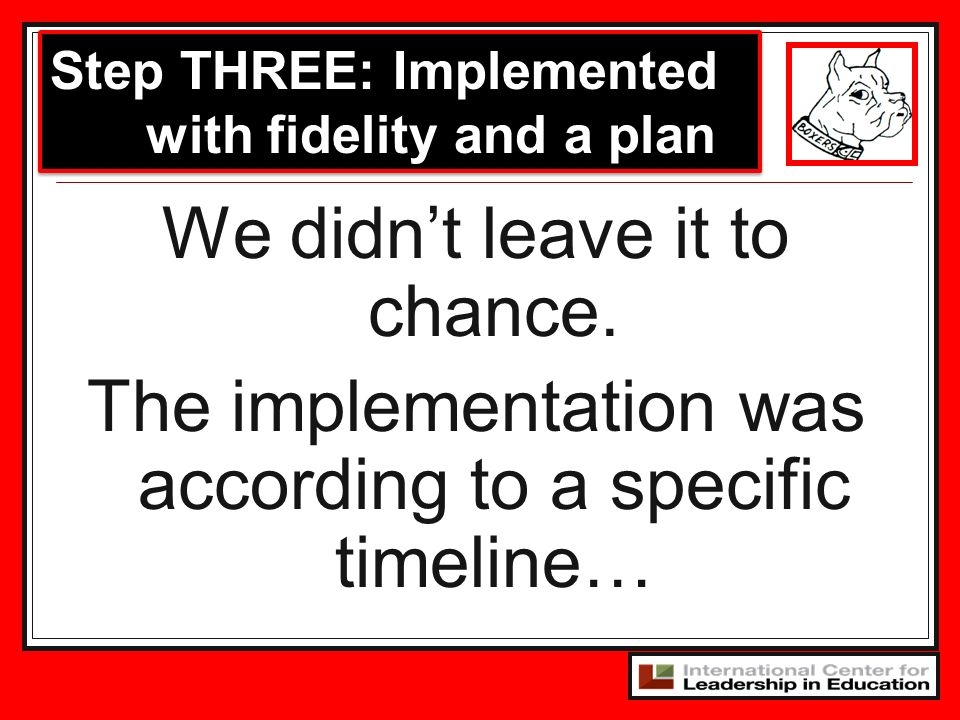 Step THREE: Implemented with fidelity and a plan