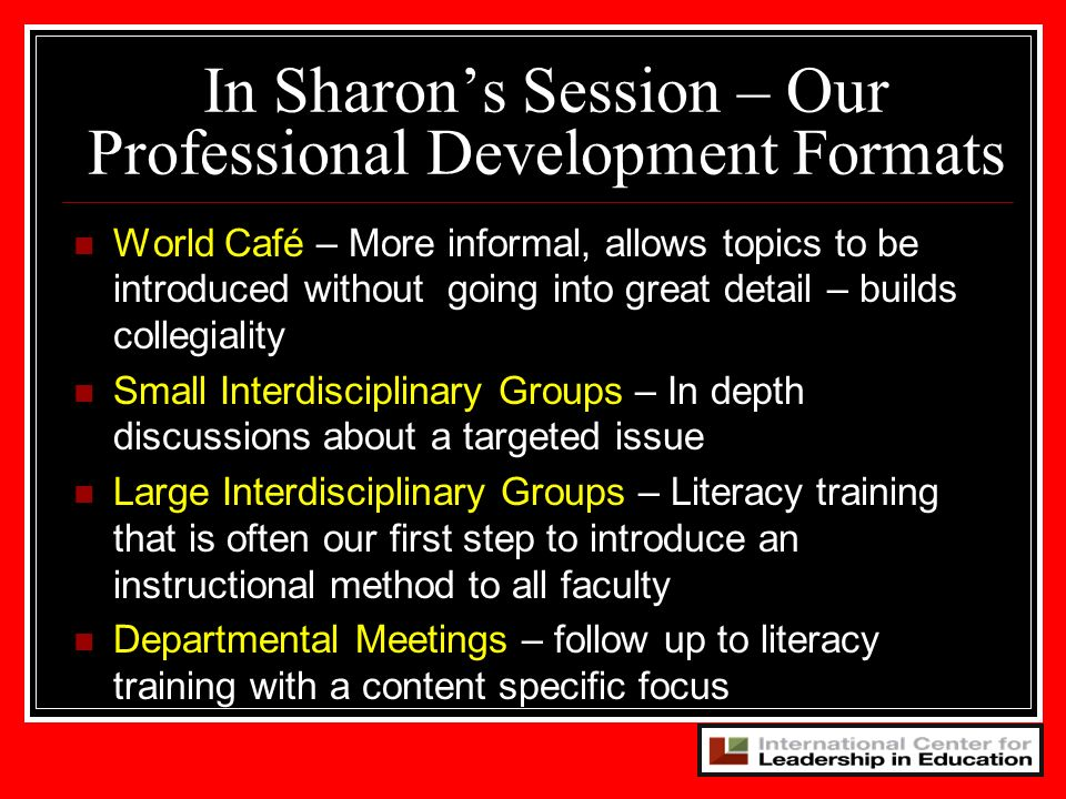 In Sharon's Session – Our Professional Development Formats
