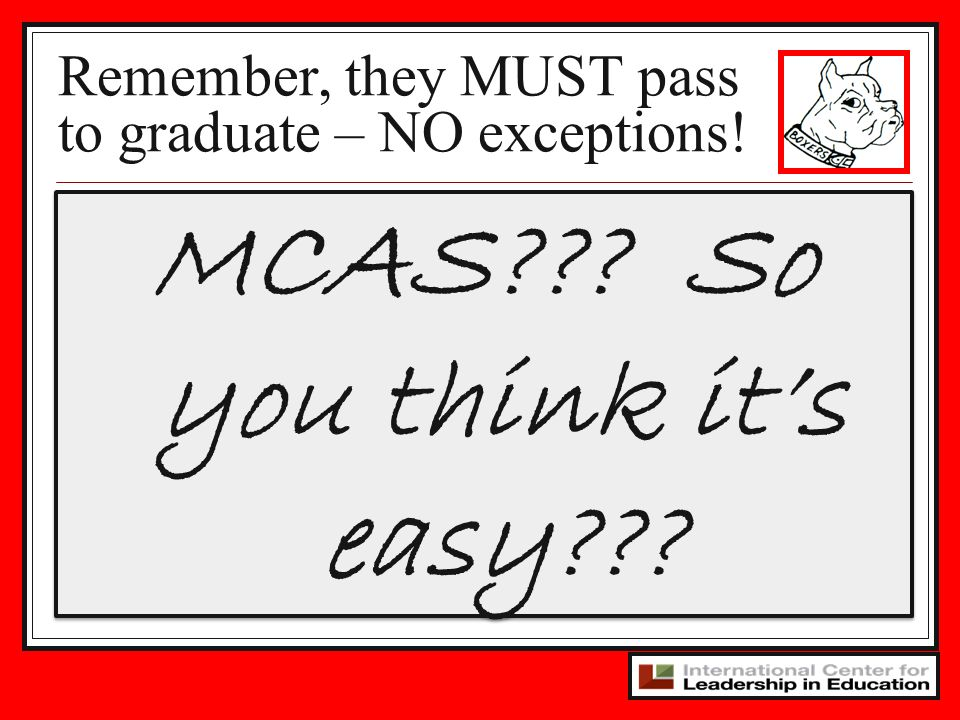 Remember, they MUST pass to graduate – NO exceptions!