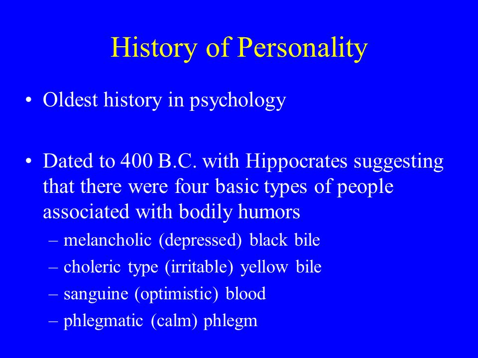 history of personality psychology History of psychology ® features refereed articles addressing all aspects of psychology's past and of its interrelationship with the many contexts within which it.