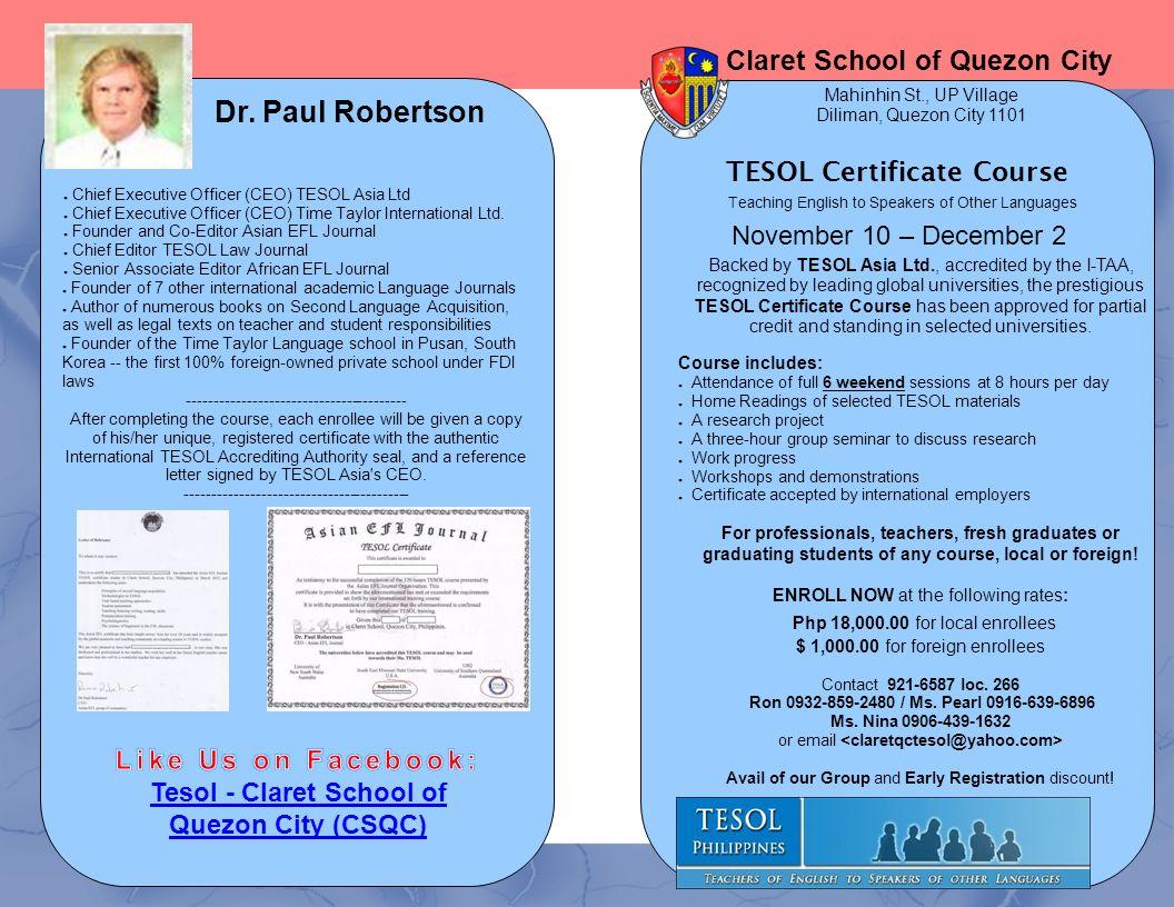 Tesol Certificate Course Tesol Claret School Of Quezon City Csqc