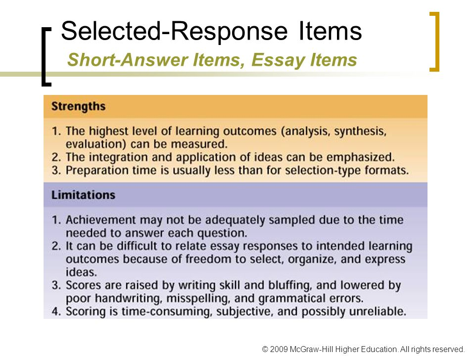 classroom assessment and grading ppt video online  12 selected response items short answer items essay items