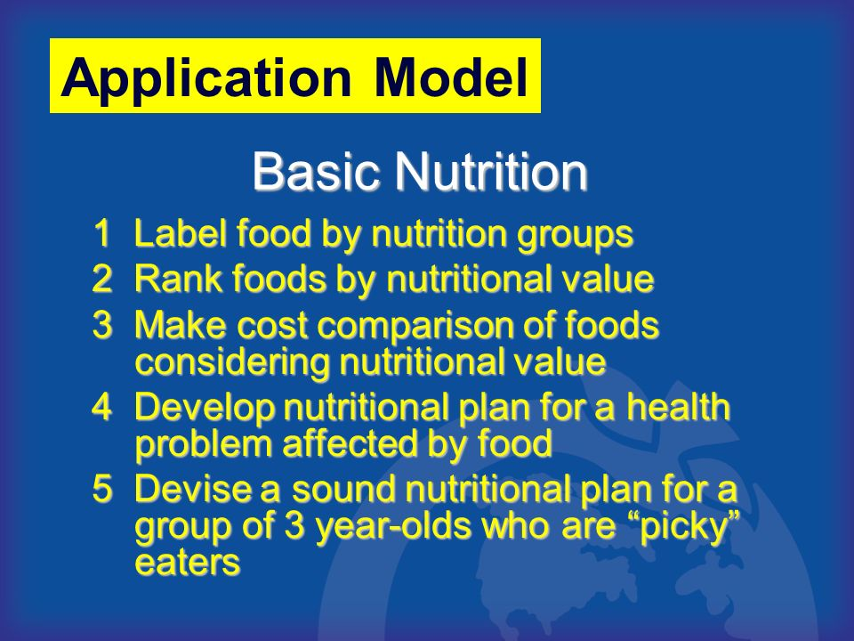 Application Model Basic Nutrition 1 Label food by nutrition groups