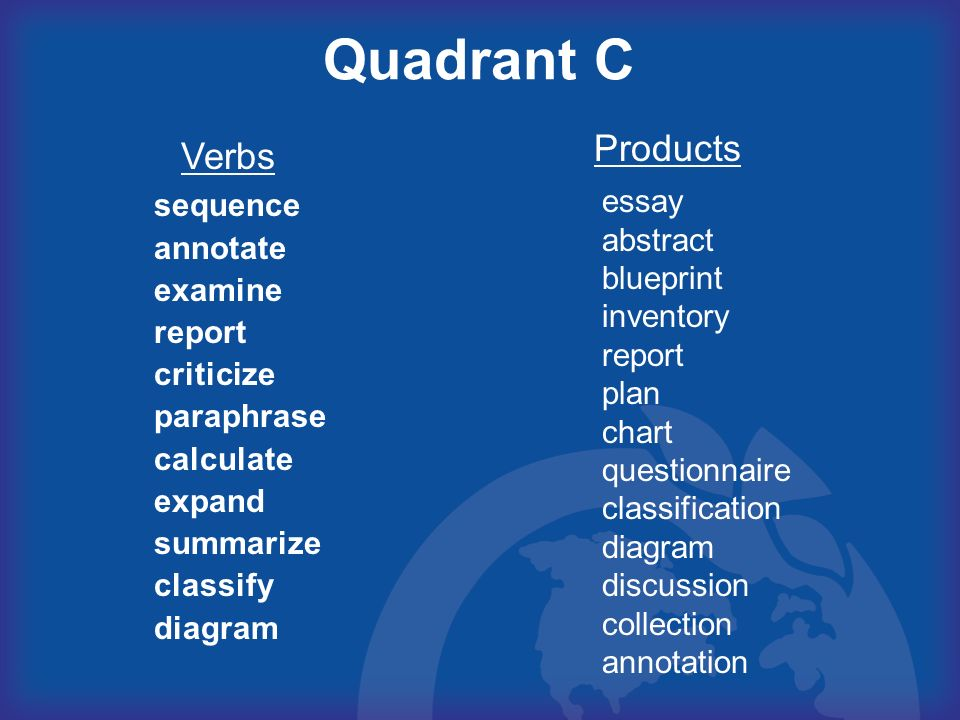 Quadrant C Products Verbs essay abstract blueprint inventory report