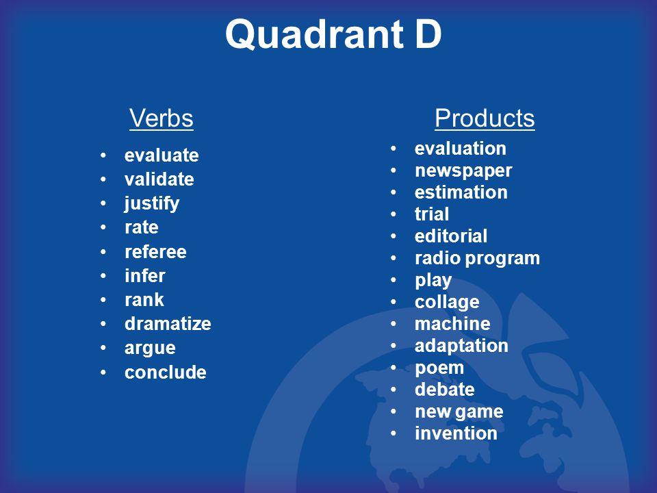 Quadrant D Verbs Products evaluation evaluate newspaper validate