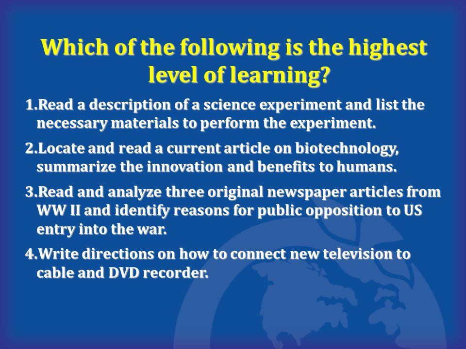 Which of the following is the highest level of learning