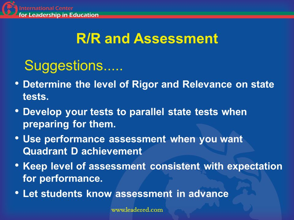 R/R and Assessment Suggestions.....