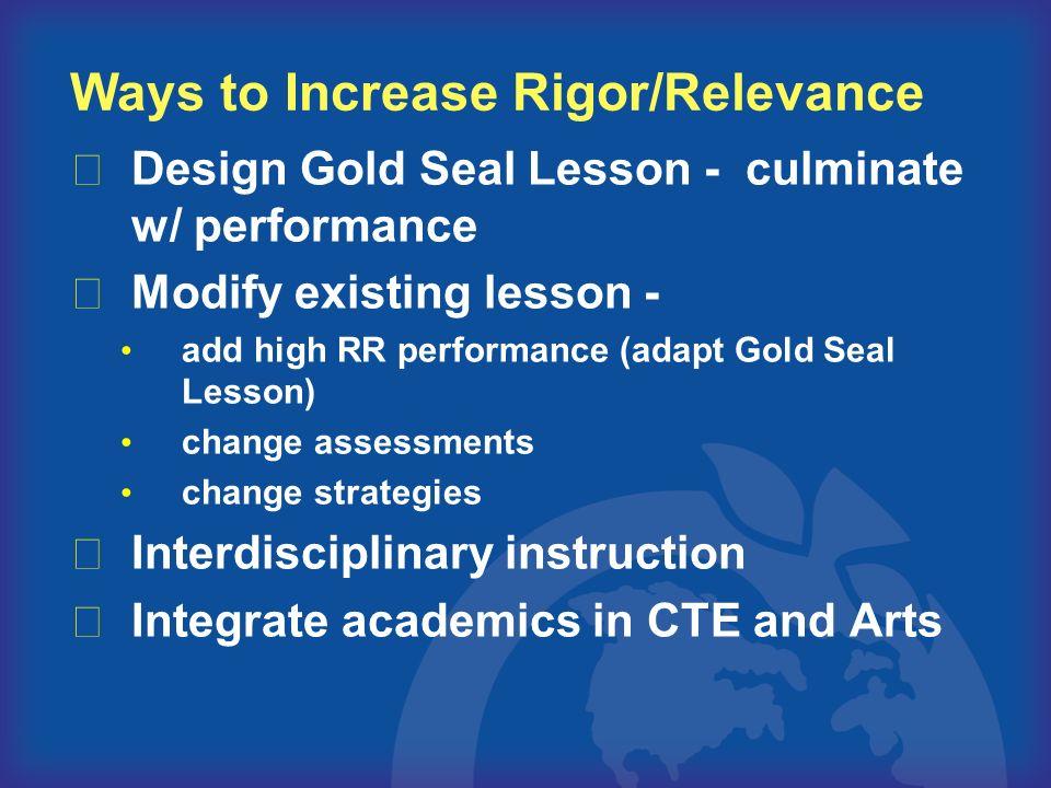 Ways to Increase Rigor/Relevance