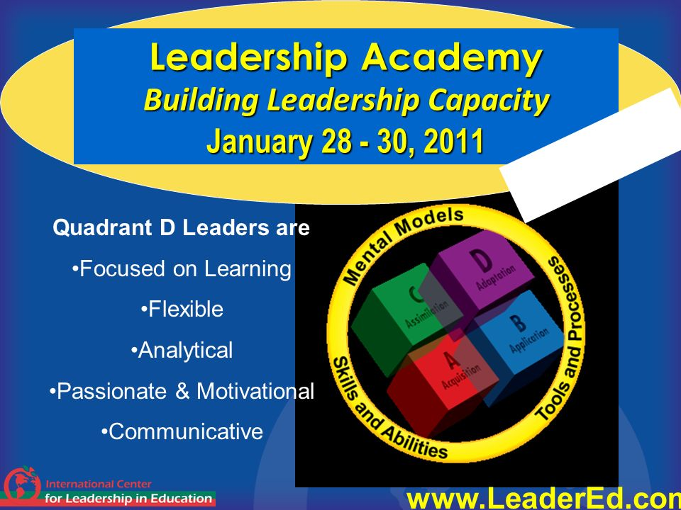 Leadership Academy Building Leadership Capacity January 28 - 30, 2011