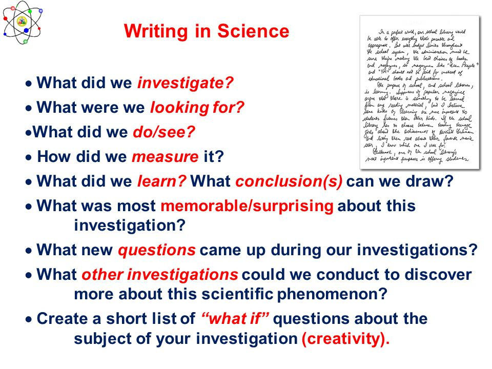 Writing in Science  What did we investigate