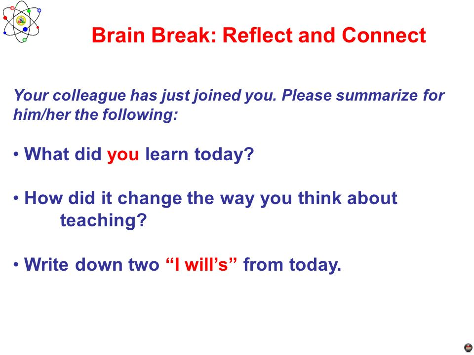 Brain Break: Reflect and Connect
