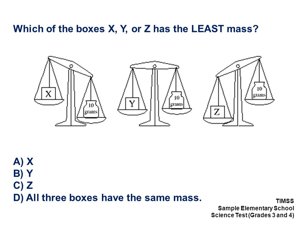 Which of the boxes X, Y, or Z has the LEAST mass