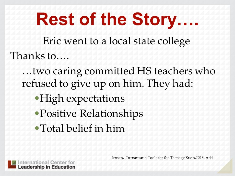 Eric went to a local state college