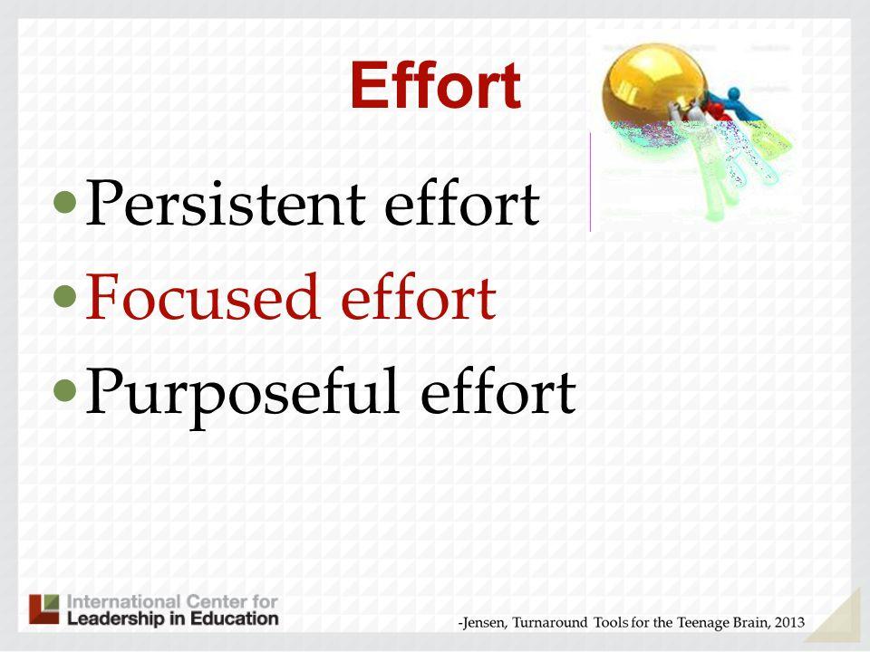 Effort Persistent effort Focused effort Purposeful effort