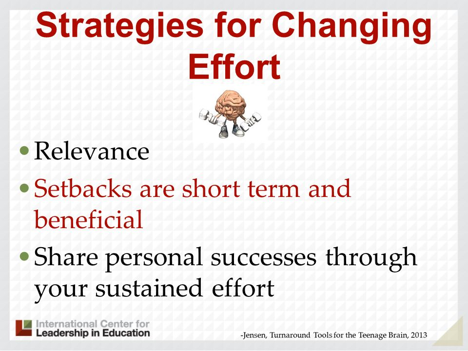Strategies for Changing Effort