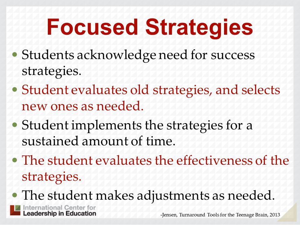 Focused Strategies Students acknowledge need for success strategies.