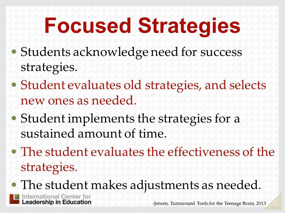 Focused Strategies Students acknowledge need for success strategies.