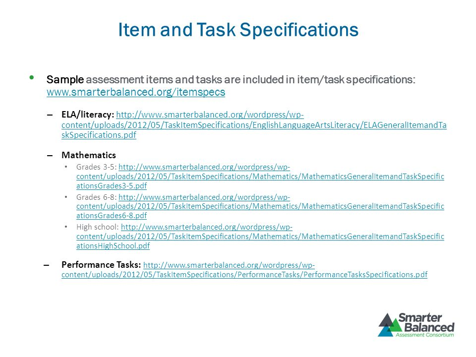 Item and Task Specifications