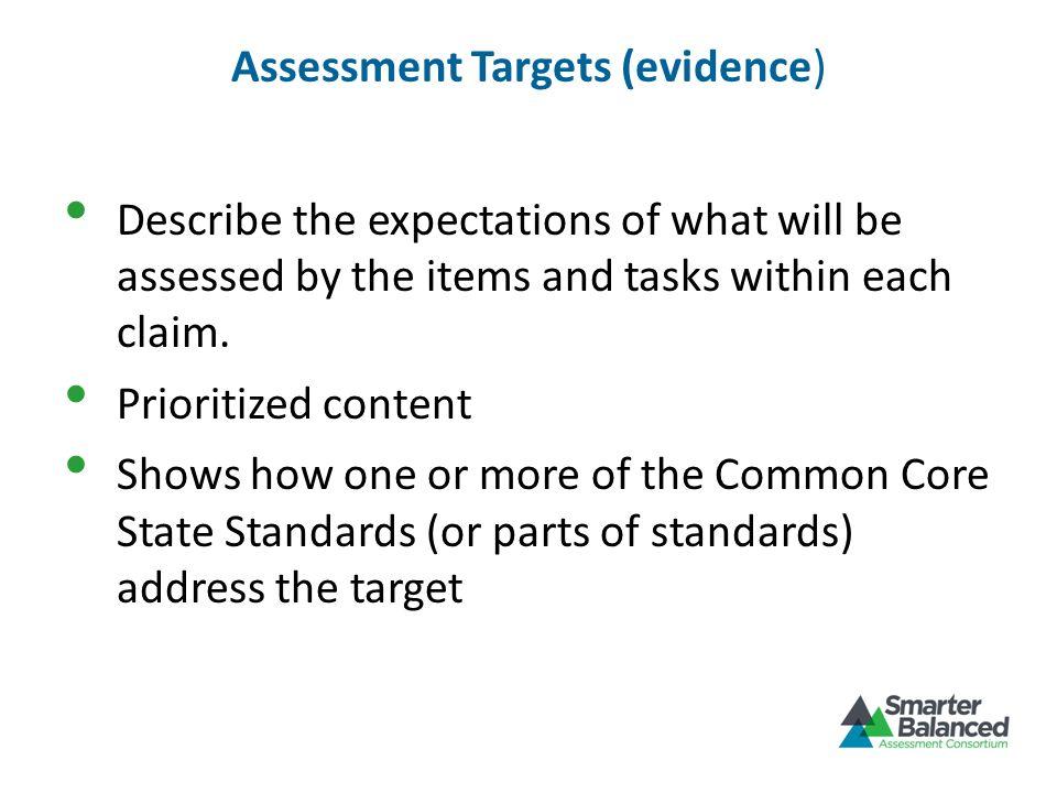 Assessment Targets (evidence)