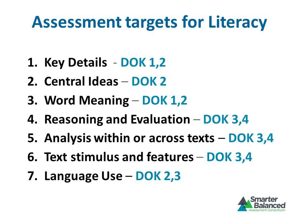 Assessment targets for Literacy