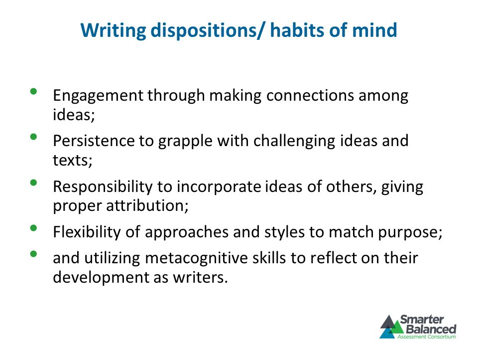 Writing dispositions/ habits of mind