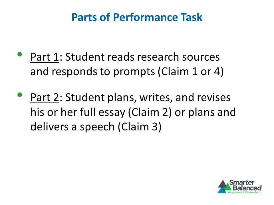 Parts of Performance Task
