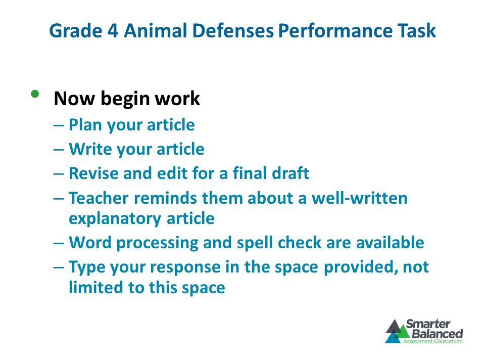 Grade 4 Animal Defenses Performance Task