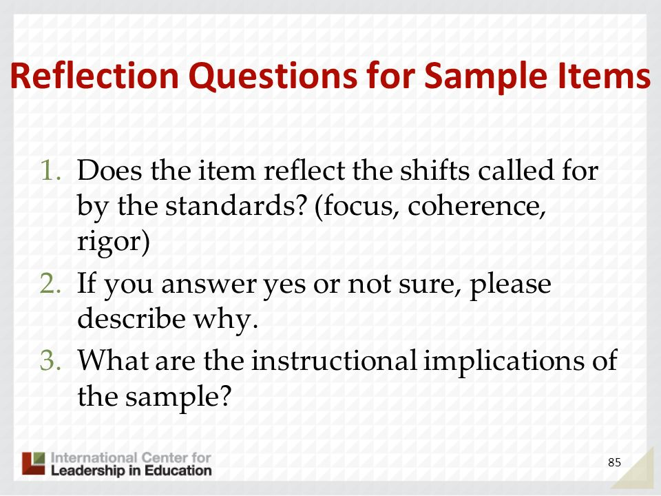 Reflection Questions for Sample Items