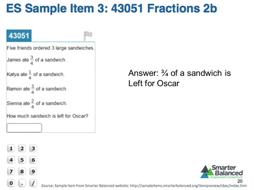 Answer: ¾ of a sandwich is