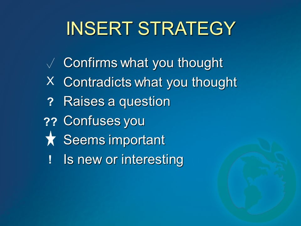 INSERT STRATEGY Confirms what you thought Contradicts what you thought