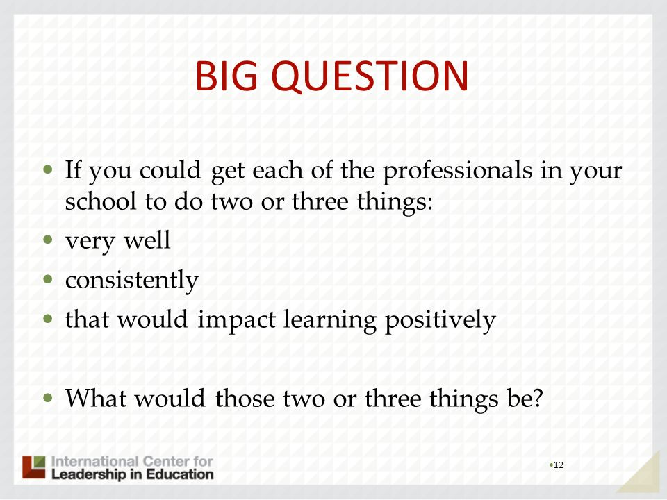 BIG QUESTIONIf you could get each of the professionals in your school to do two or three things: very well.