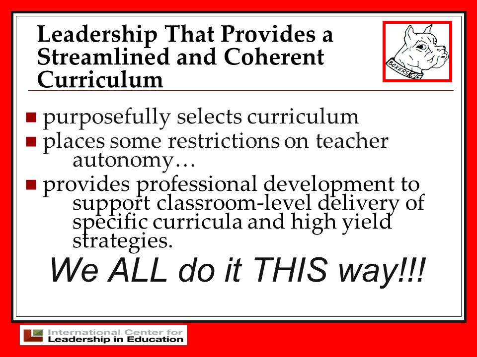 Leadership That Provides a Streamlined and Coherent Curriculum
