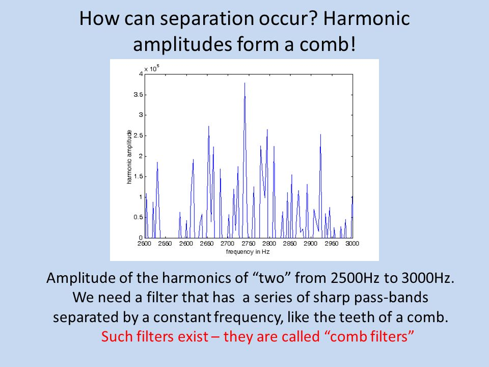 How can separation occur Harmonic amplitudes form a comb!