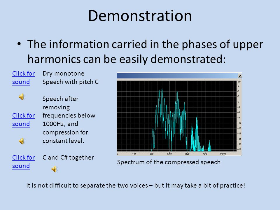Demonstration The information carried in the phases of upper harmonics can be easily demonstrated: Click for sound.