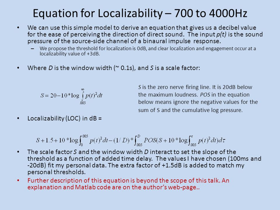 Equation for Localizability – 700 to 4000Hz