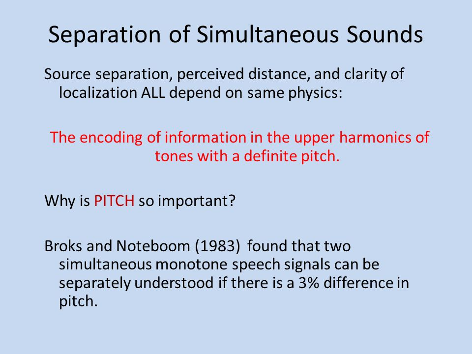 Separation of Simultaneous Sounds