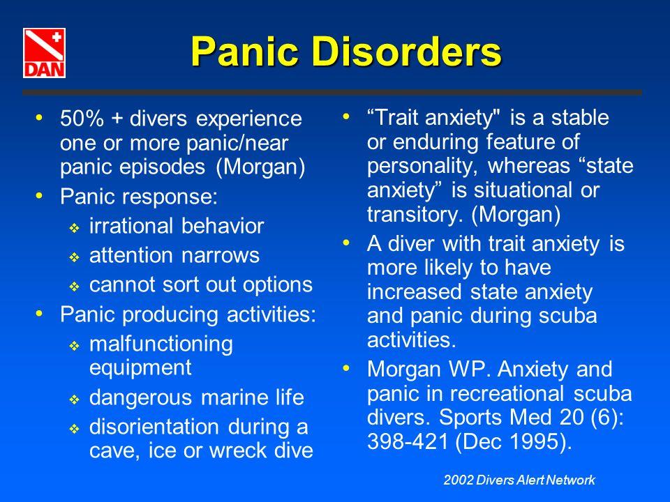 Panic Disorders 50% + divers experience one or more panic/near panic episodes (Morgan) Panic response: