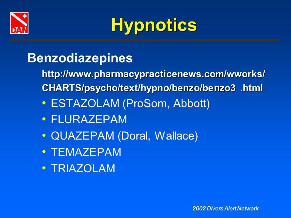 Hypnotics Benzodiazepines ESTAZOLAM (ProSom, Abbott) FLURAZEPAM