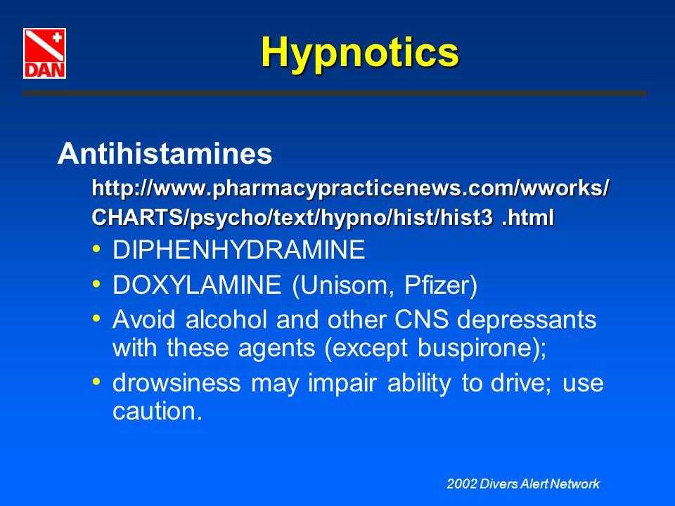 Hypnotics Antihistamines DIPHENHYDRAMINE DOXYLAMINE (Unisom, Pfizer)