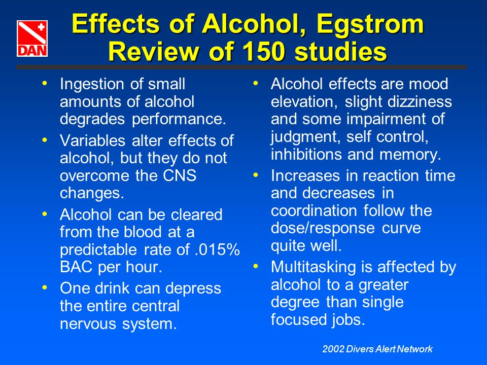 Effects of Alcohol, Egstrom Review of 150 studies