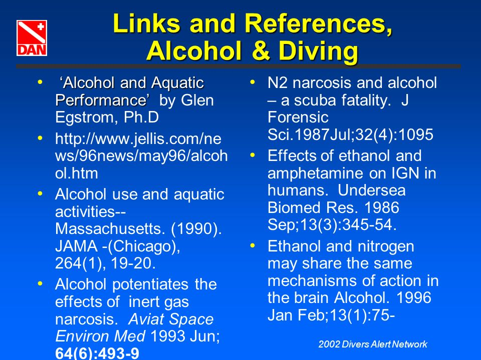 Links and References, Alcohol & Diving