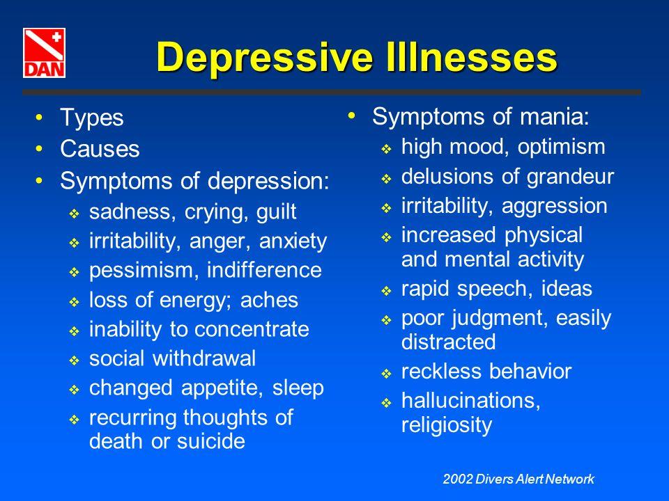 Depressive Illnesses Types Symptoms of mania: Causes