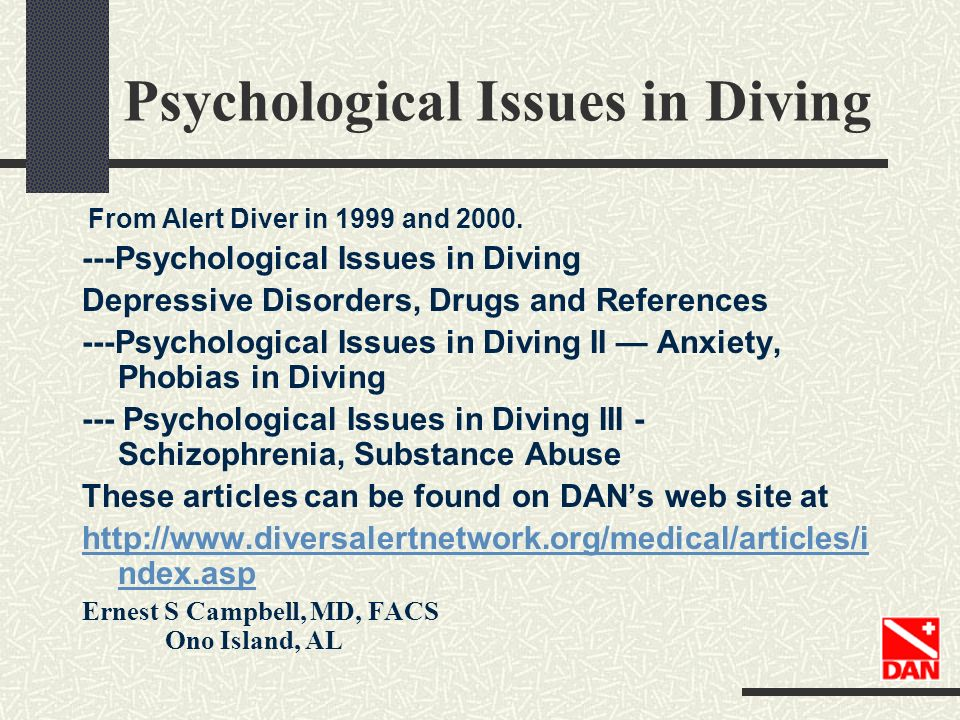 Psychological Issues in Diving