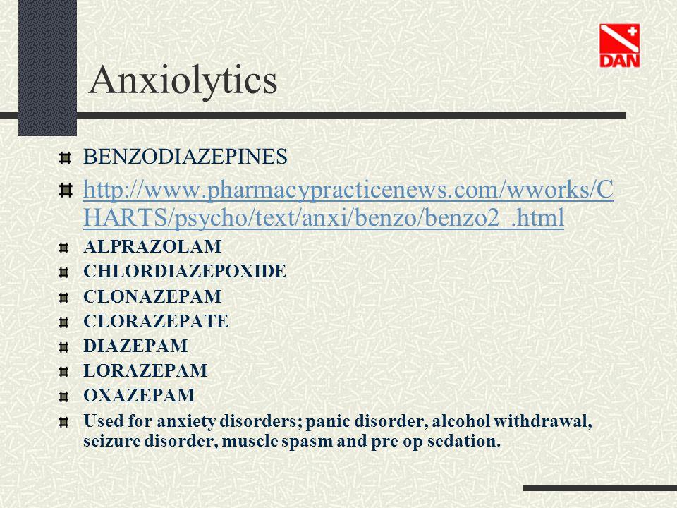 Anxiolytics BENZODIAZEPINES. http://www.pharmacypracticenews.com/wworks/CHARTS/psycho/text/anxi/benzo/benzo2 .html.