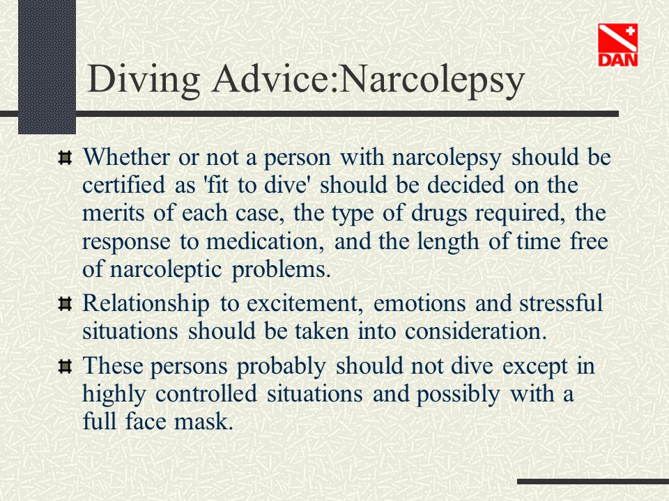 Diving Advice:Narcolepsy