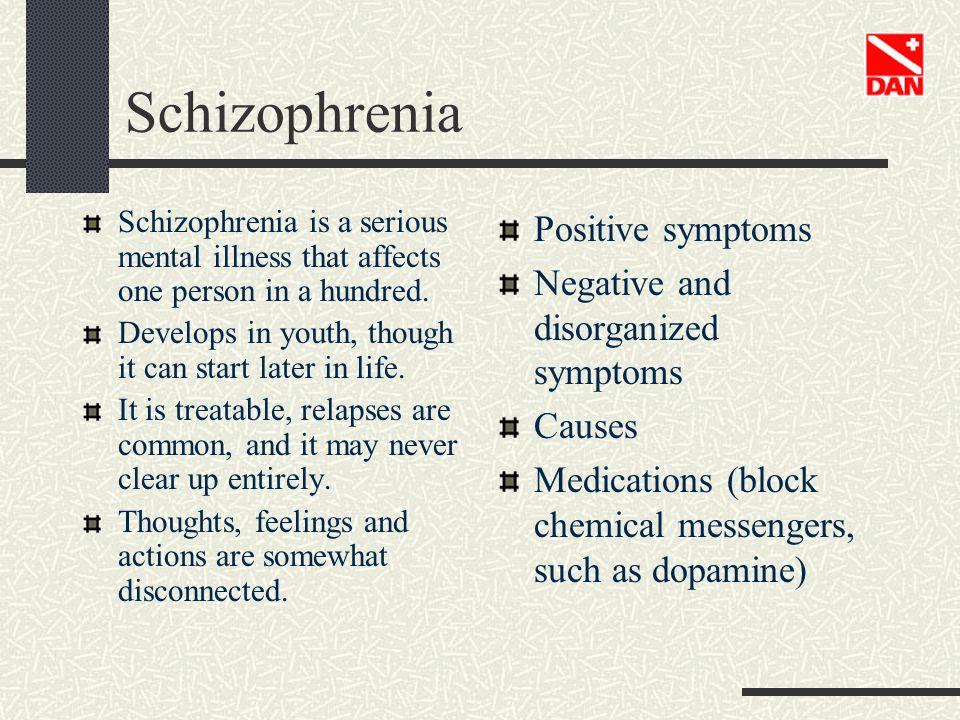 Schizophrenia Positive symptoms Negative and disorganized symptoms