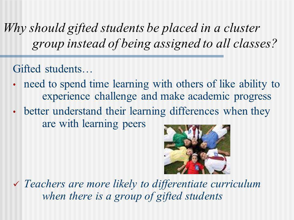 Why should gifted students be placed in a cluster