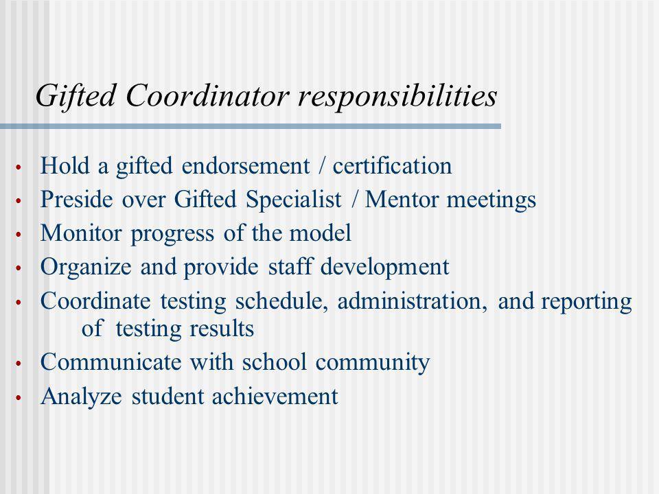 Gifted Coordinator responsibilities
